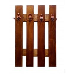 Cuier din lemn masiv cu 4 agatatori, maro 75x50 cm