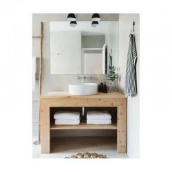 Consola pentru baie din lemn masiv de rasinoase cu margine masiva