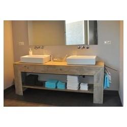 Consola pentru baie pentru doua lavoare cu rama