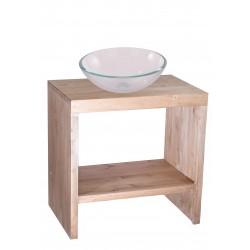 Consola pentru baie din lemn , culoare natur