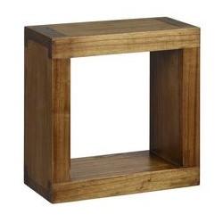 Consola pentru baie din lemn maro patrata