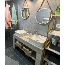 Consola pentru baie cu rama lata alba