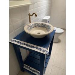 Consola pentru baie pictata albastra