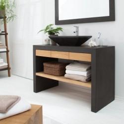 Consola pentru baie neagra cu sertare false